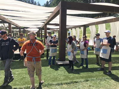 Volunteers and Staff setting up at Meadowood Napa Valley.  Photo by Tony Albright for Napa Valley Vintners