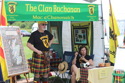 David and Marianne Byrne (Clan Buchanan) in their tent, waiting to talk to festival goers