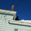 Lowell resident Jerry Kamai clearing the roof Hampshire st., home. (The Sun / Chris Tierney)