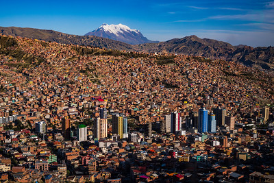 Illimani, the highest mountain in the Cordillera Real, looms in the distance