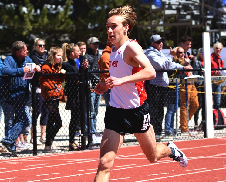 Fairview's Max Carter-Kemp crosses the finish line of the 400-meter dash during the Boulder County Invitational on Saturday, April 14, at Centaurus High School.