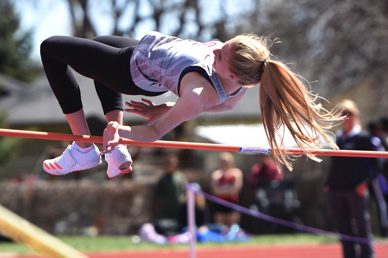 Silver Creek's Rylee Anderson clears high jump bar during the Boulder County Invitational on Saturday, April 14, at Centaurus High School.
