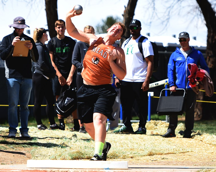 Mead's Jaxon Bennett competes in the shot put during the Boulder County Invitational on Saturday, April 14, at Centaurus High School.