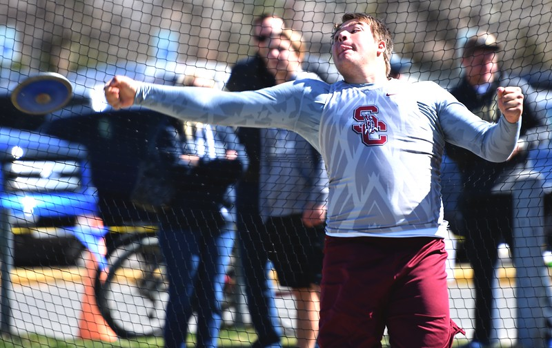 Silver Creek's Sam Dirkes looses a discus during the Boulder County Invitational on Saturday, April 14, at Centaurus High School.