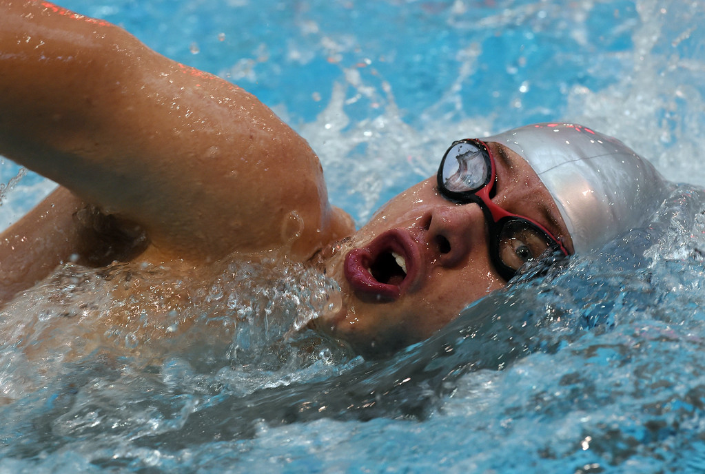 . John Barbour, of Silver Creek, competes in the 200 yard freestyle during the 2018 Boys\' Mustang Invitational in Thornton on Saturday. For more photos go to BoCoPreps.com. Cliff Grassmick  Photographer  April 21, 2018