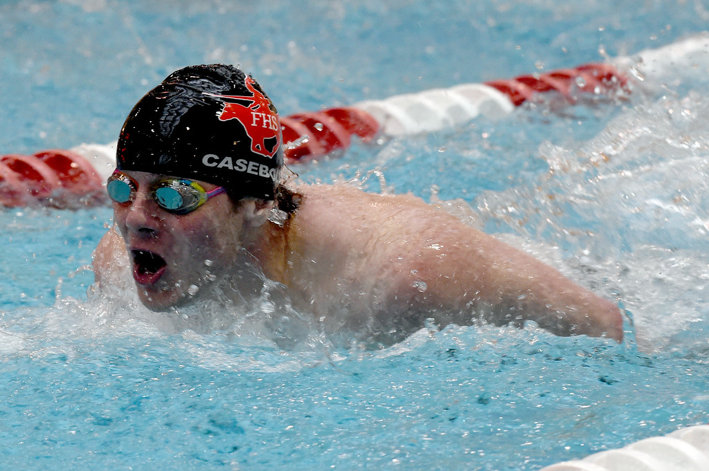 . Jack Casebolt, of Fairview, competes in the 100 yard butterfly during the 2018 Boys\' Mustang Invitational in Thornton on Saturday. For more photos go to BoCoPreps.com. Cliff Grassmick  Photographer  April 21, 2018
