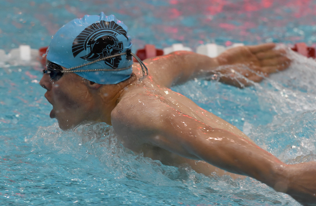 . Josh Huffmaster, of Longmont,  competes in the 200 yard IM during the 2018 Boys\' Mustang Invitational in Thornton on Saturday. For more photos go to BoCoPreps.com. Cliff Grassmick  Photographer  April 21, 2018