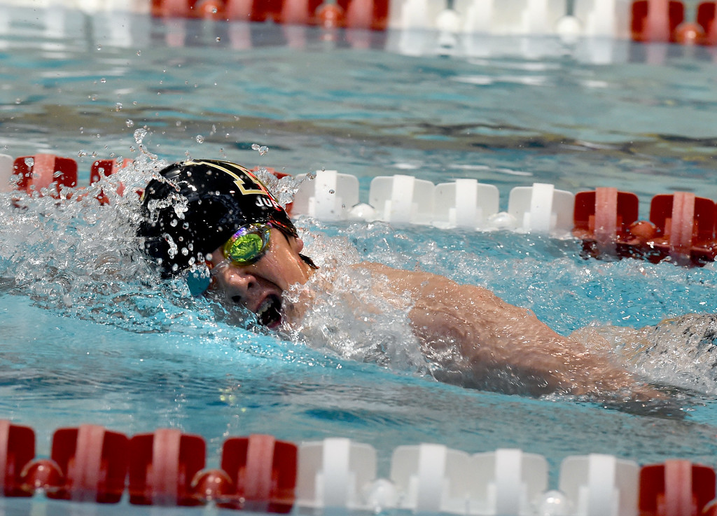 . Jackson Jupille, of Monarch, competes in the 200 yard freestyle during the 2018 Boys\' Mustang Invitational in Thornton on Saturday. For more photos go to BoCoPreps.com. Cliff Grassmick  Photographer  April 21, 2018