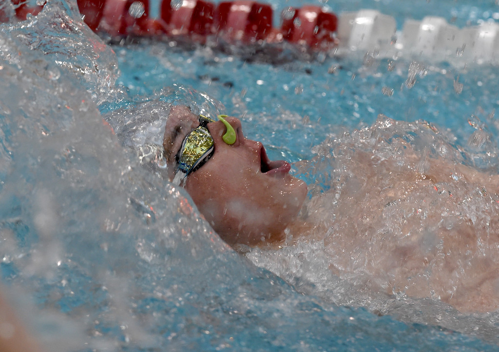 . Weston Call, of Silver Creek, competes in the 200 yard medley relay during the 2018 Boys\' Mustang Invitational in Thornton on Saturday. For more photos go to BoCoPreps.com. Cliff Grassmick  Photographer  April 21, 2018