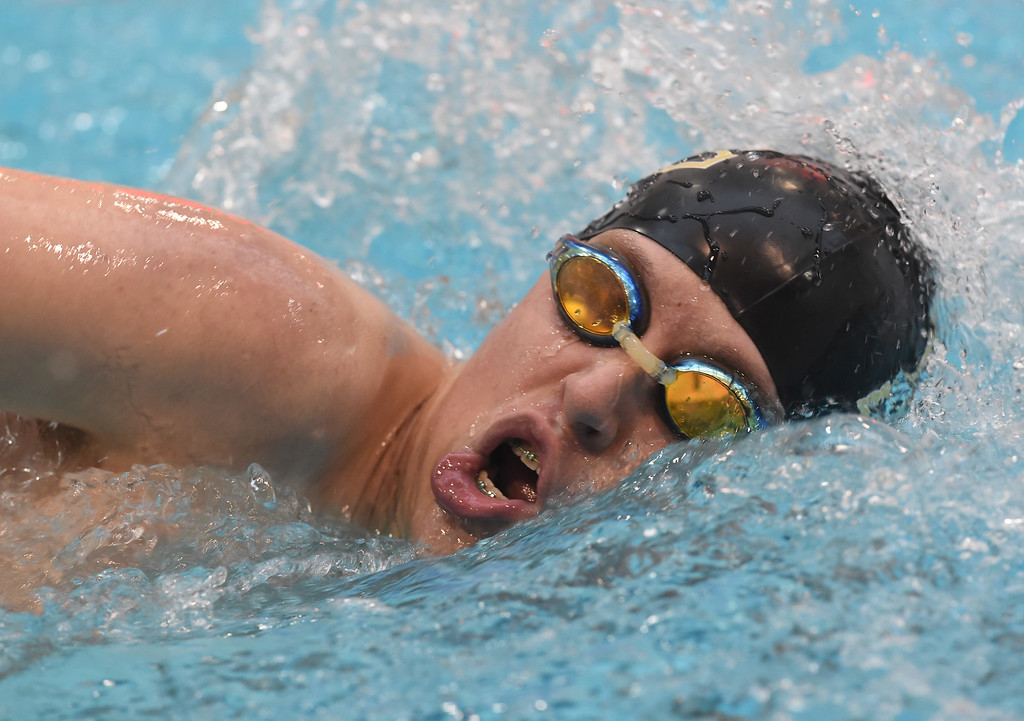 . Logan Pius, of Monarch, competes in the 200 yard freestyle during the 2018 Boys\' Mustang Invitational in Thornton on Saturday. For more photos go to BoCoPreps.com. Cliff Grassmick  Photographer  April 21, 2018
