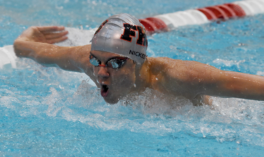 . Ben Nickell, of Fairview, competes in the 200 yard medley relay during the 2018 Boys\' Mustang Invitational in Thornton on Saturday. For more photos go to BoCoPreps.com. Cliff Grassmick  Photographer  April 21, 2018