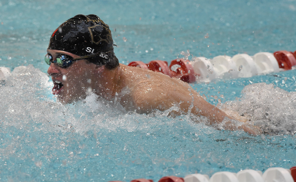 . Matt Slade, of Boulder, competes in the 200 yard IM during the 2018 Boys\' Mustang Invitational in Thornton on Saturday. For more photos go to BoCoPreps.com. Cliff Grassmick  Photographer  April 21, 2018