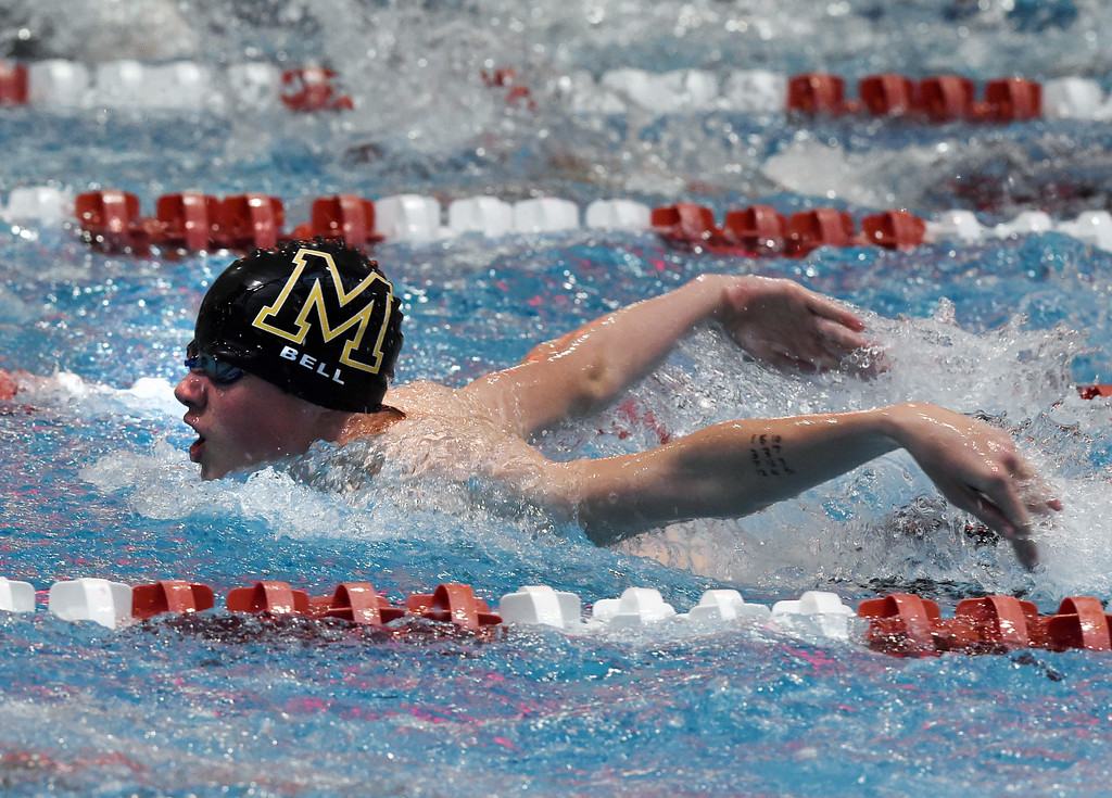 . Dawson Bell, of Monarch, competes in the 200 yard IM during the 2018 Boys\' Mustang Invitational in Thornton on Saturday. For more photos go to BoCoPreps.com. Cliff Grassmick  Photographer  April 21, 2018