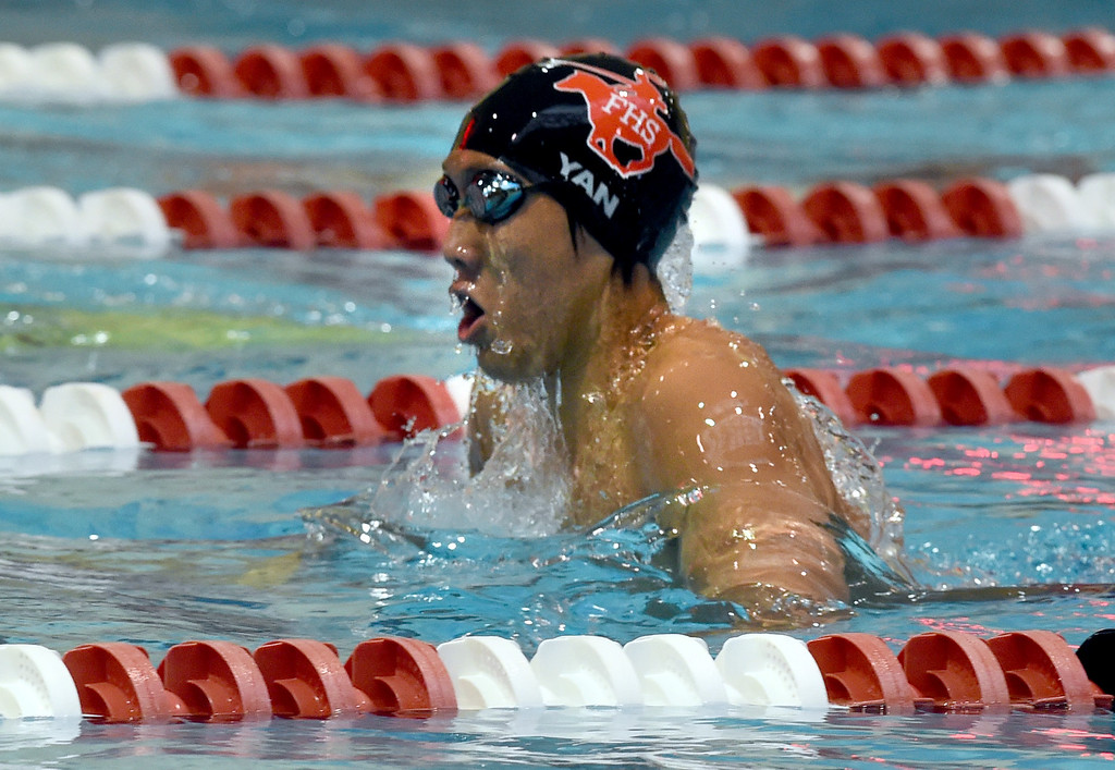 . Cody Yan, of Fairview, competes in the 200 yard IM during the 2018 Boys\' Mustang Invitational in Thornton on Saturday. For more photos go to BoCoPreps.com. Cliff Grassmick  Photographer  April 21, 2018