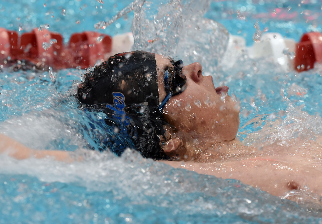 . Collin Dunn, of Broomfield, competes in the 200 yard medley relay during the 2018 Boys\' Mustang Invitational in Thornton on Saturday. For more photos go to BoCoPreps.com. Cliff Grassmick  Photographer  April 21, 2018
