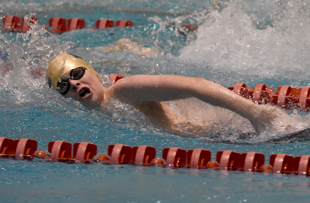 . Mark Blackmon, of Legacy, competes in the 200 yard medley relay during the 2018 Boys\' Mustang Invitational in Thornton on Saturday. For more photos go to BoCoPreps.com. Cliff Grassmick  Photographer  April 21, 2018