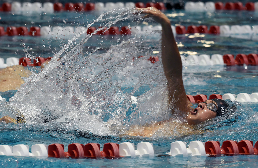 . Max Kreidl, of Boulder, competes in the 200 yard IM during the 2018 Boys\' Mustang Invitational in Thornton on Saturday. For more photos go to BoCoPreps.com. Cliff Grassmick  Photographer  April 21, 2018