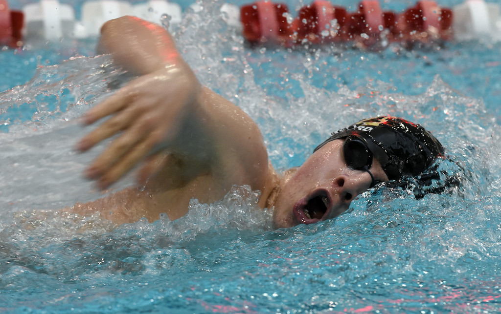 . Sean Crawford, of Monarch, competes in the 200 yard freestyle during the 2018 Boys\' Mustang Invitational in Thornton on Saturday. For more photos go to BoCoPreps.com. Cliff Grassmick  Photographer  April 21, 2018