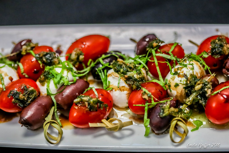 Caprese Skewer with Herb Oil