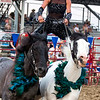 Dusti Crain-Dickerson rides barefoot on two horses while performing at Saturday's second annual Buckin' For Wishes rodeo in Altamont.<br /> Keith Stewart Photo