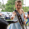 Effingham County Junior Miss Elizabeth Weidner attempts to lasso a fake bull head at Saturday's second annual Buckin' For Wishes rodeo in Altamont.<br /> Keith Stewart Photo