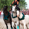 Dusti Crain-Dickerson rides three horses while performing at Saturday's second annual Buckin' For Wishes rodeo in Altamont.<br /> Keith Stewart Photo