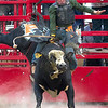 Preston Schafer tries to stay on his bull during Saturday's second annual Buckin For Wishes rodeo in Altamont.<br /> Keith Stewart Photo