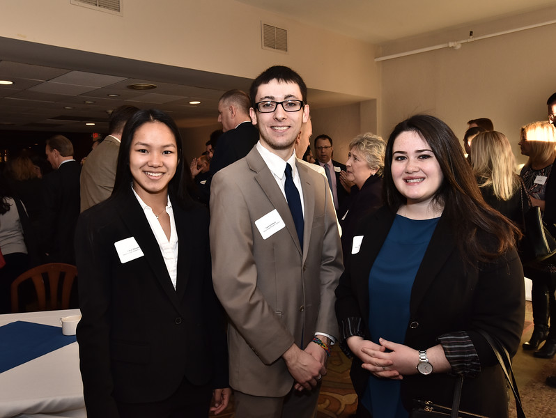 Chloe Stevens, left, Travis Brodbeck and Katie Anderson from Siena College