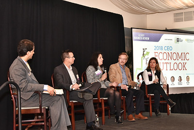 2018 CEO Economic Outlook. Senior reporter and moderator Michael DeMasi, left, with panelists Michael A. O'Connor, President of Alltek Energy Systems, Inc.; Nancy Bambera, vice president and COO of DZ Restaurants; Tom Marusak, President of Comfortex Corp. and Heather C. Briccetti, Esq., President & CEO of The Business Council of New York State  Nancy Bambara, VP and COO, DZ Restaurants