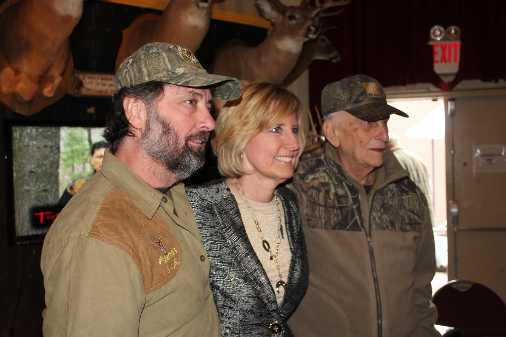 . Charles Pritchard - Oneida Daily Dispatch Congresswoman Claudia Tenney, R-22, gets a picture with Live the Wildlife Television\'s Pat Salerno Jr., left, and Pat Salerno Sr. on Feb. 3, 2018