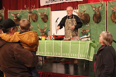 Charles Pritchard - Oneida Daily Dispatch New York State Outdoorsmen Hall of Famer Steve Wowelko shows the crowd just how to cook wild game, from pheasant stir fry to Cajun bass on Feb. 3, 2018