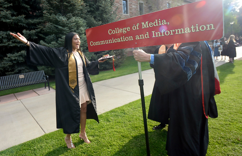 . Ariana Freeman has arrived we can start  the 2018 CU Commencement on May 10, 2018.  For more photos and a video, go to dailycamera.com. Cliff Grassmick  Photographer  May 10,  2018
