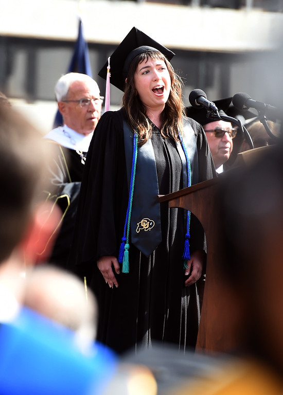 ". Winona Martin sings ""America the Beautiful\"" during the 2018 CU Commencement on May 10, 2018.  For more photos and a video, go to dailycamera.com. Cliff Grassmick  Photographer  May 10,  2018"