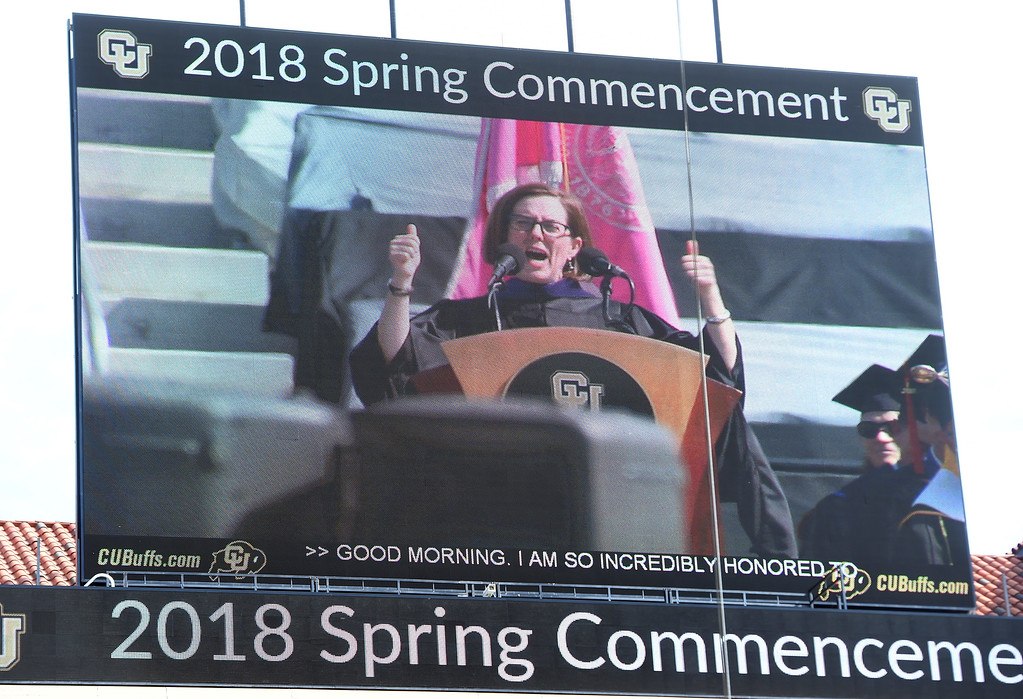 . Oregon Governor and CU grad, Kate Brown, was the Commencement Speaker during the 2018 CU Commencement on May 10, 2018.  For more photos and a video, go to dailycamera.com. Cliff Grassmick  Photographer  May 10,  2018