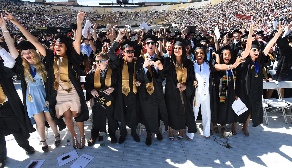 . Graduates from the College of Media, Communication and Information celebrate during the 2018 CU Commencement on May 10, 2018.  For more photos and a video, go to dailycamera.com. Cliff Grassmick  Photographer  May 10,  2018