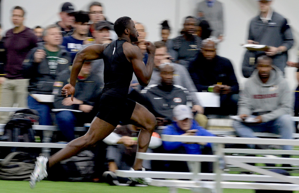 . Afolabi Laguda runs a 40-yard dash during the 2018 CU Pro Timing Day at the Indoor Practice Facility at the University of Colorado.  For more photos, go to Buffzone.com. Cliff Grassmick  Photographer  March 7, 2018