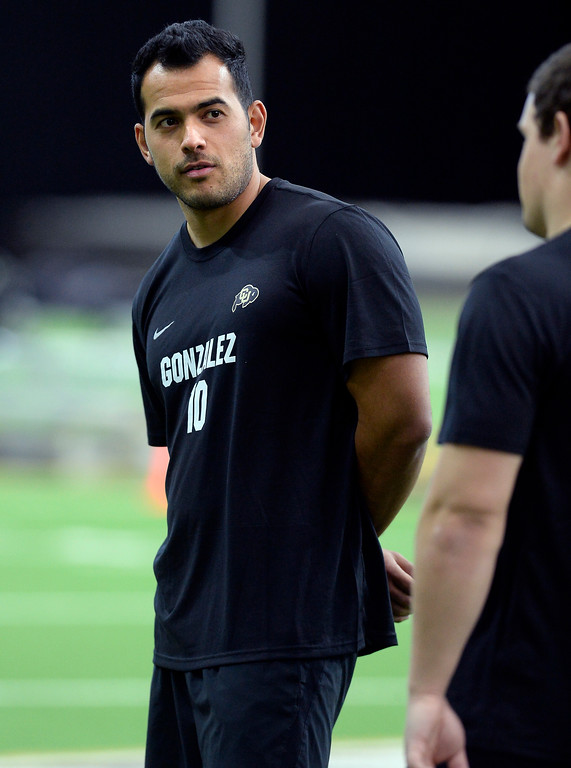 . Kicker Diego Gonzales was also on hand during the 2018 CU Pro Timing Day at the Indoor Practice Facility at the University of Colorado.  For more photos, go to Buffzone.com. Cliff Grassmick  Photographer  March 7, 2018