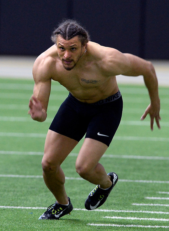 . Phillip Lindsay runs one of his cone drills during the 2018 CU Pro Timing Day at the Indoor Practice Facility at the University of Colorado.  For more photos, go to Buffzone.com. Cliff Grassmick  Photographer  March 7, 2018