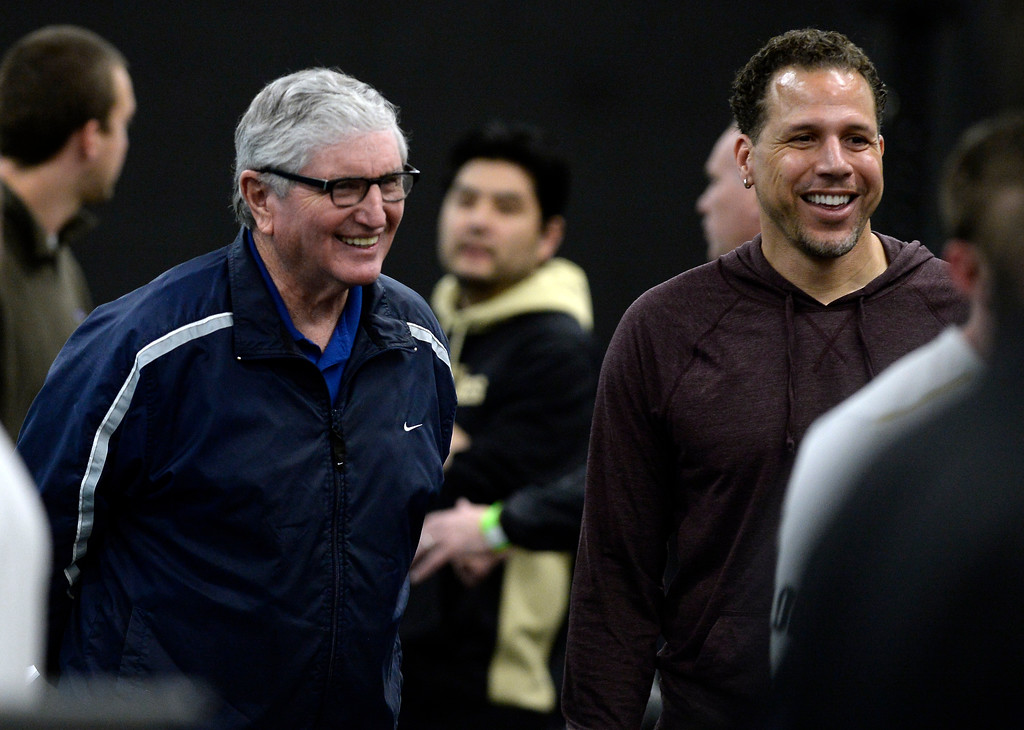 . Former CU football coach, Bill McCartney, left, and CU great, Chad Brown, during the 2018 CU Pro Timing Day at the Indoor Practice Facility at the University of Colorado.  For more photos, go to Buffzone.com. Cliff Grassmick  Photographer  March 7, 2018