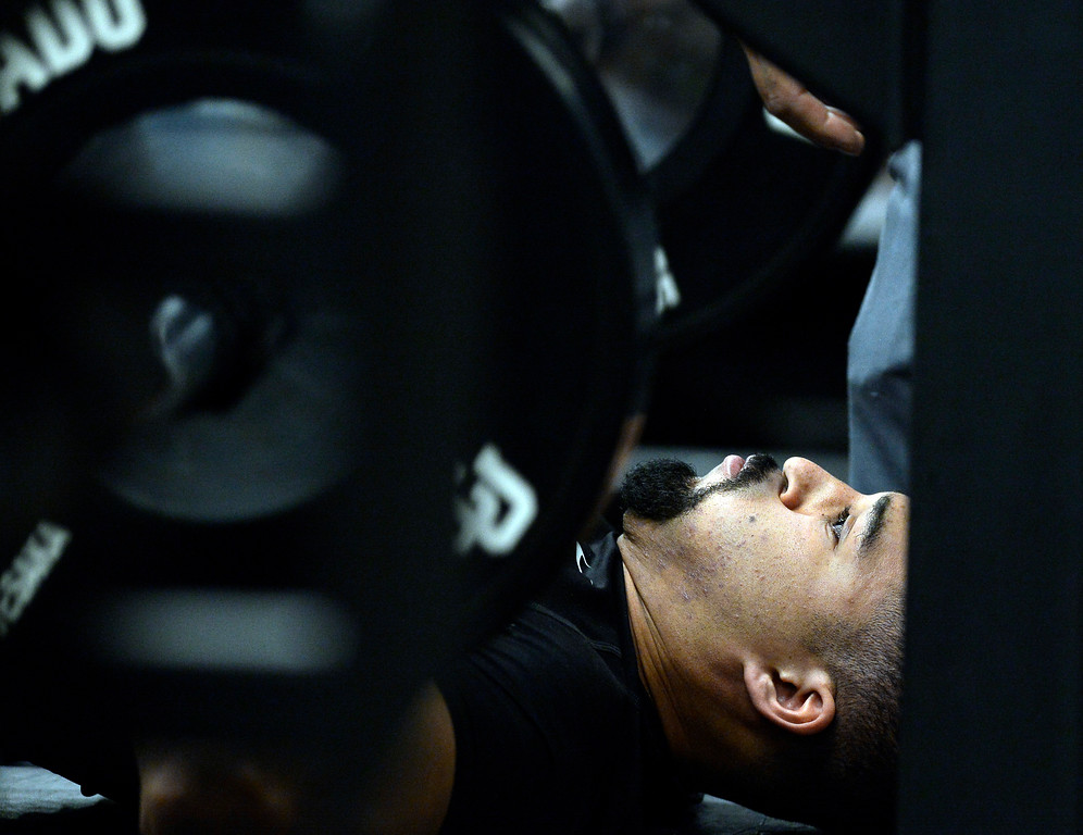 . Derek McCartney does his bench press during the 2018 CU Pro Timing Day at the Indoor Practice Facility at the University of Colorado.  For more photos, go to Buffzone.com. Cliff Grassmick  Photographer  March 7, 2018