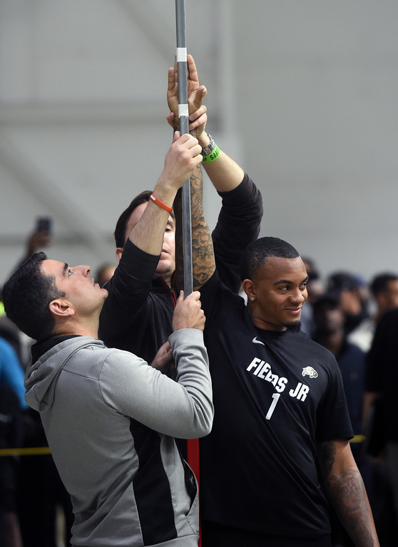 . Shay Fields is measured for the vertical jump during the 2018 CU Pro Timing Day at the Indoor Practice Facility at the University of Colorado.  For more photos, go to Buffzone.com. Cliff Grassmick  Photographer  March 7, 2018