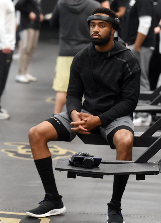 . Bryce Bobo waits his turn to be measured during the 2018 CU Pro Timing Day at the Indoor Practice Facility at the University of Colorado.  For more photos, go to Buffzone.com. Cliff Grassmick  Photographer  March 7, 2018