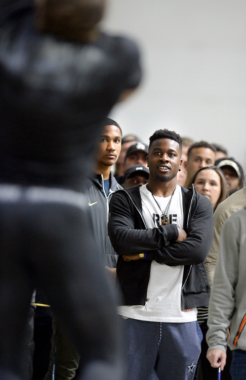 . Former Buff and current Dallas Cowboy, Chidobe Awuzie, watched during the 2018 CU Pro Timing Day at the Indoor Practice Facility at the University of Colorado.  For more photos, go to Buffzone.com. Cliff Grassmick  Photographer  March 7, 2018