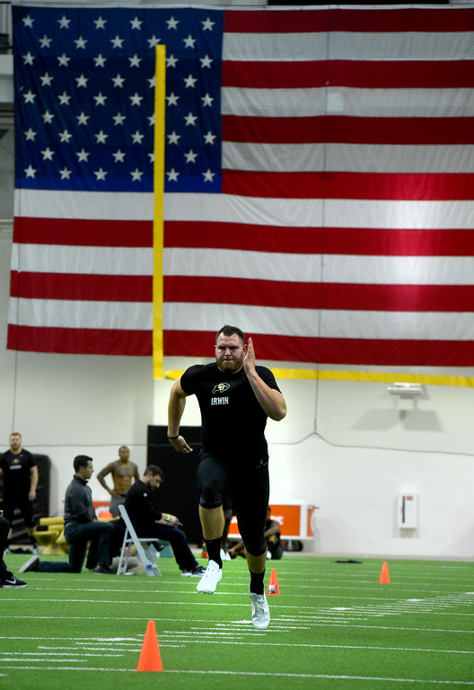. Jeromy Irwin runs a 40-yard dash during the 2018 CU Pro Timing Day at the Indoor Practice Facility at the University of Colorado.  For more photos, go to Buffzone.com. Cliff Grassmick  Photographer  March 7, 2018
