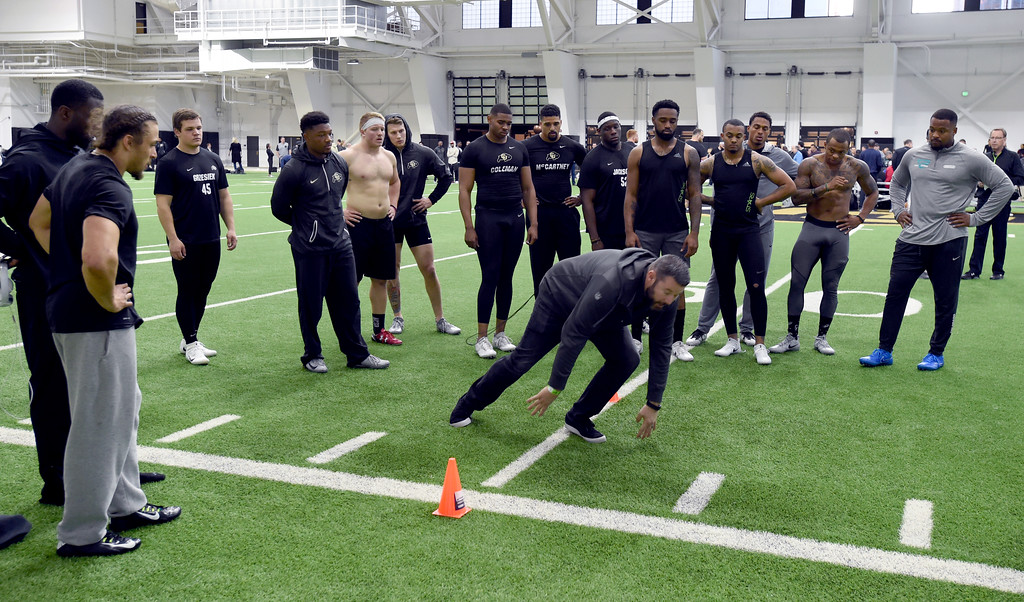 . NFL hopefuls watch a scout demonstrate one of the drills during the 2018 CU Pro Timing Day at the Indoor Practice Facility at the University of Colorado.  For more photos, go to Buffzone.com. Cliff Grassmick  Photographer  March 7, 2018