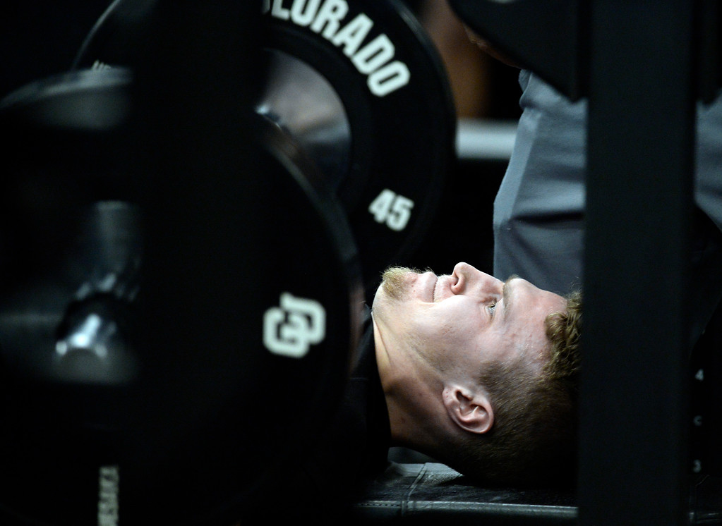 . Ryan Moeller  does his bench press during the 2018 CU Pro Timing Day at the Indoor Practice Facility at the University of Colorado.  For more photos, go to Buffzone.com. Cliff Grassmick  Photographer  March 7, 2018