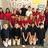 CLASS VISITS—Bishop Edward Rice visited each class during his Catholic School Week visit to St. Mary Catholic School in Joplin on Jan. 29. Here he is with Mrs. Emily Lone's 5th grade class. (<i>The Mirror</i>)
