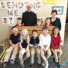 ​CATHOLIC SCHOOLS WEEK 2018—​Bishop Rice visited with with Ann Hamlet, ​Joplin's ​St. Mary​ Catholic School,​ principal, and some of​ its​ first graders during CSW 2018. (<i>The Mirror</i>)
