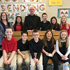 CLASS VISITS—Bishop Edward Rice visited each class during his Catholic School Week visit to St. Mary Catholic School in Joplin on Jan. 29. Here he is with Mrs. Kim Hosp's fourth grade class.. (<i>The Mirror</i>)