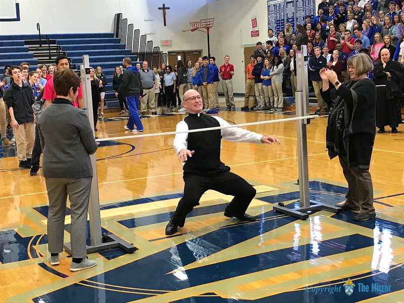HE CAN LIMBO—If there was any doubt, Bp. Edward M. Rice can limbo, and limbo he did at Notre Dame Regional High School, Cape Girardeau, on Fri., Feb. 2, during festivities surrounding Catholic Schools Week 2018. Catch the video taken by Betsy Anders at www.dioscg.org. (<i>The Mirror</i>)